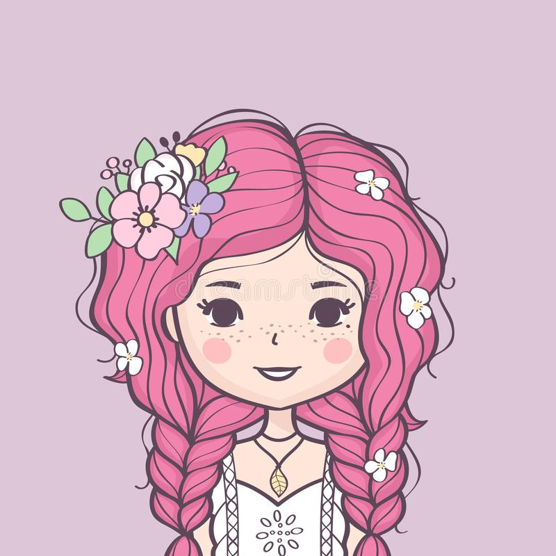Schönes nettes Sommermädchen mit Blume in ihrem Haar stock abbildung