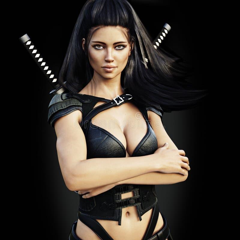 Schönes ninja weiblicher Meuchelmörder, überzeugte Haltung auf einem schwarzen Hintergrund lizenzfreie abbildung