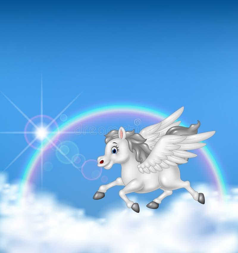 Schönes Pegasus-Fliegen auf Regenbogenhintergrund vektor abbildung