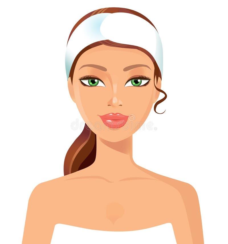 Schönes perfektes Gesicht der jungen Frau mit Tuch Hautschönheitsbadekurort s lizenzfreie abbildung