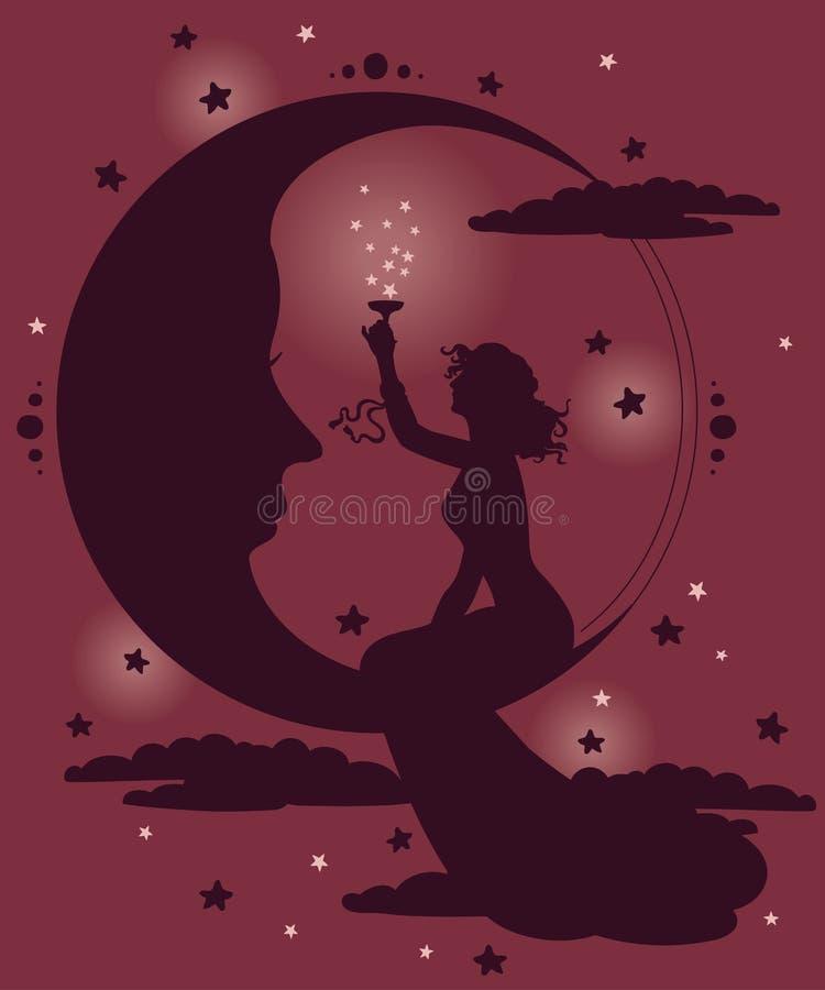 Schönes Plakat in der Jugendstilart mit trinkendem Champagner der Frau auf Nachtsternenklarem Hintergrund stock abbildung