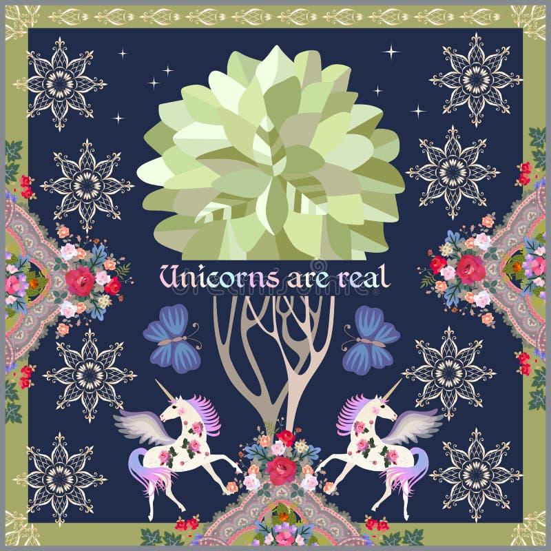 Schönes Plakat mit netten geflügelten Einhörnern, großen Schmetterlingen, Paisley-Blumen-oranment, goldenen Sternen und Baum des  lizenzfreie abbildung