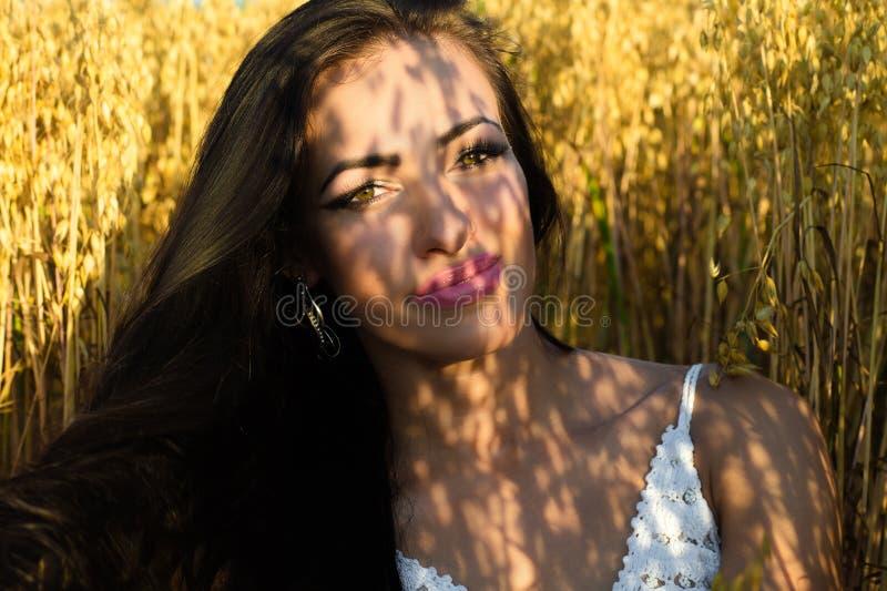Schönes Porträt von brunette Frau im Sonnenscheinabschluß oben bezaubern stockfotos