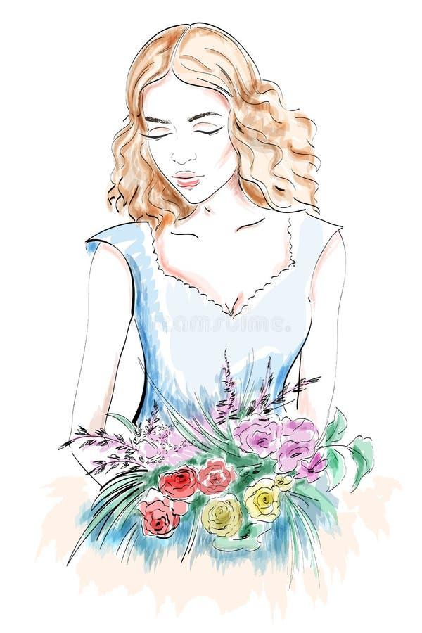 Schönes Portrait der jungen Frau Frau mit Blumen Skizzenmädchen stock abbildung