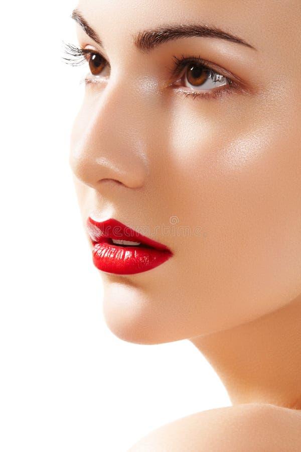 Schönes reines vorbildliches Gesicht mit den hellen Lippen richten her lizenzfreie stockbilder