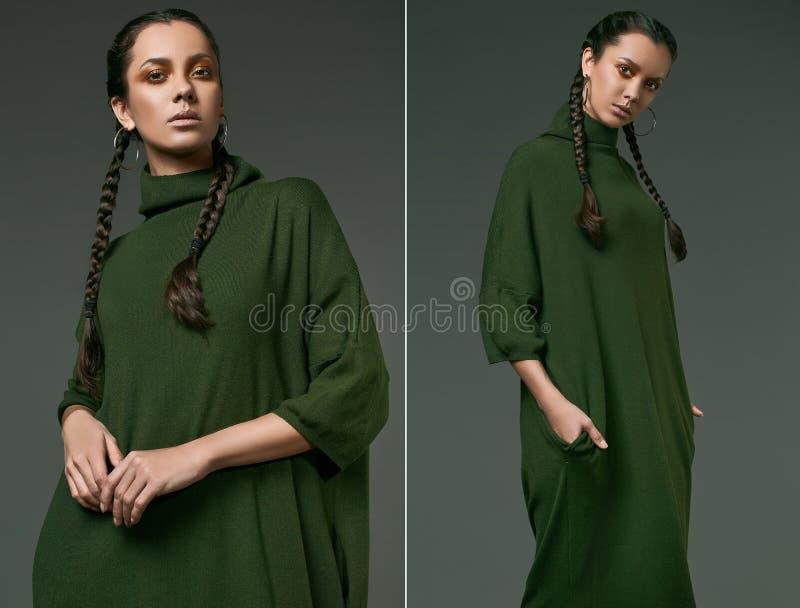 Schönes reizend hispanisches Mädchen im Kleid des langen Grüns stockfotos
