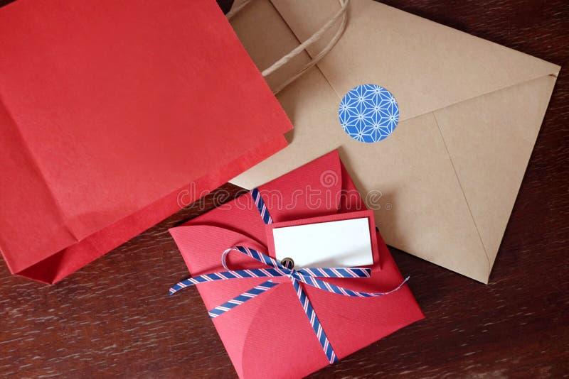 Schönes rotes Geschenk eingestellt für Weihnachten lizenzfreies stockbild