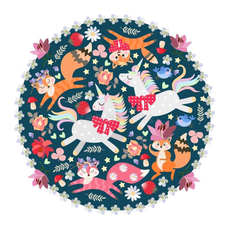Schönes rundes Muster mit nettem Karikatureichhörnchen, -füchsen, -kätzchen und -Einhörnern Dekorative Platte, Entwurf einwi vektor abbildung