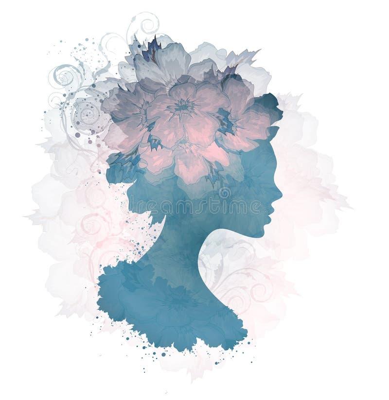 Schönes Schattenbild-Blumenfrau vektor abbildung