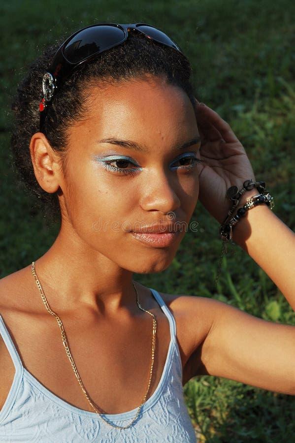 Schönes schwarzes Mädchen stockbilder