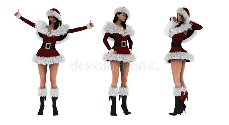 Schönes sexy Mädchen 3D, das Weihnachtsmann-Kleidung trägt lizenzfreie stockfotografie