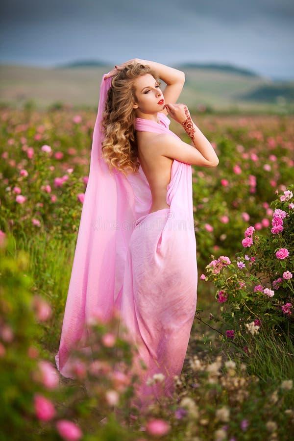 Schönes sexy Mädchen in einem rosa Kleid, das in den Gartenrosen steht stockfotografie