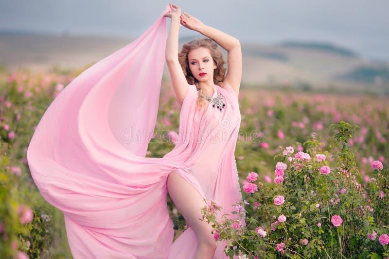 Schönes sexy Mädchen in einem rosa Kleid, das in den Gartenrosen steht stockfotos