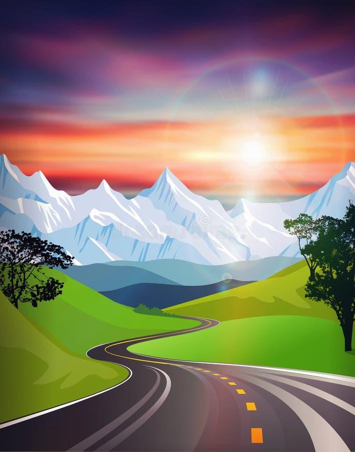 Schönes Sonnenuntergang- und Sonnenaufflackern der Landschaftsstraße, Landstraßenautoreise stock abbildung