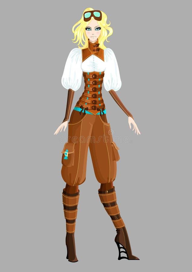 Schönes steampunk Mädchen lizenzfreie abbildung
