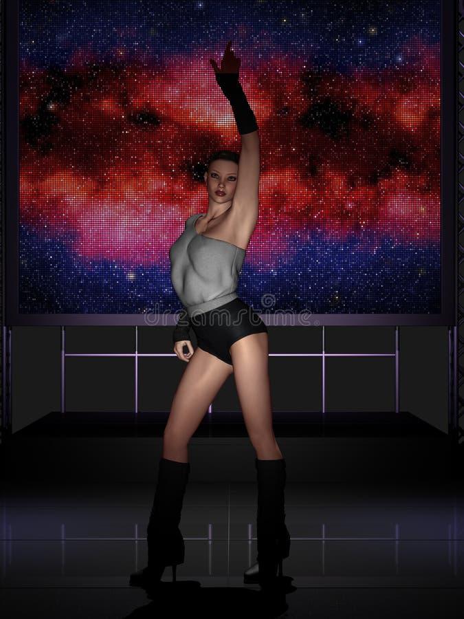 Schönes Tanzen der jungen Frau auf Stadium lizenzfreie abbildung