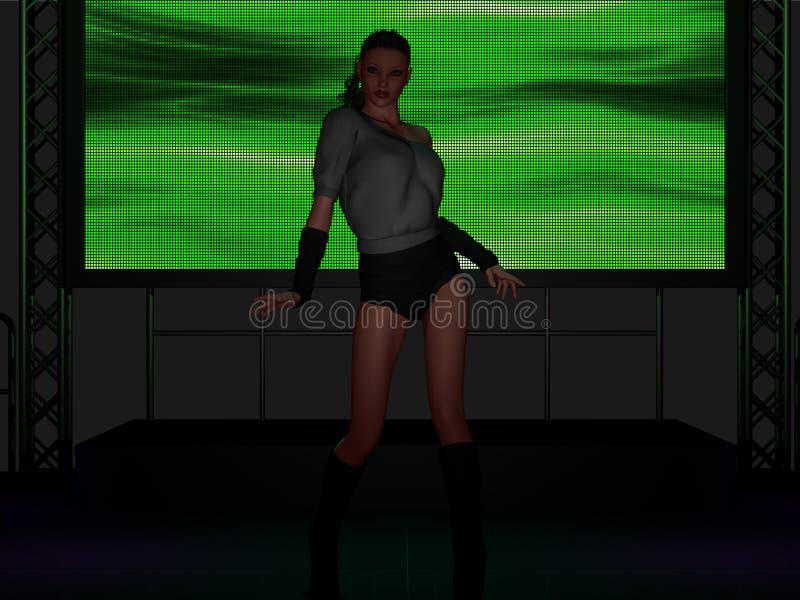 Schönes Tanzen der jungen Frau auf Stadium vektor abbildung