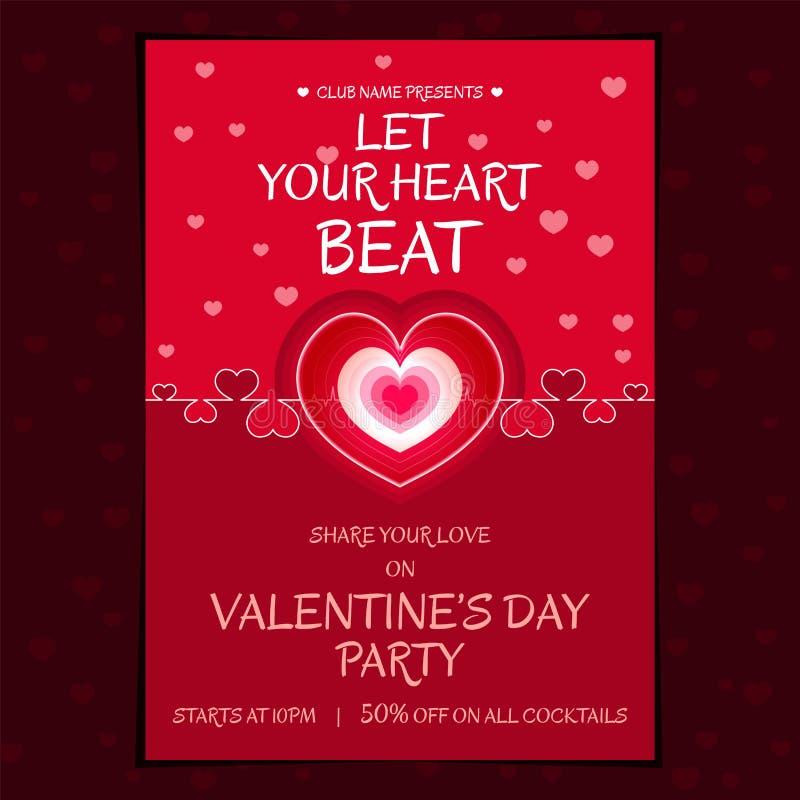 Schönes themenorientiertes Herzschlagplakat für Valentinsgrußtagespartei lizenzfreie abbildung
