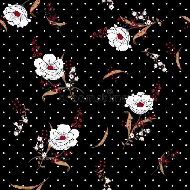 Schönes und Muster der weißen Blumen des herzensguten Kerls blühendes nahtloses vect stock abbildung