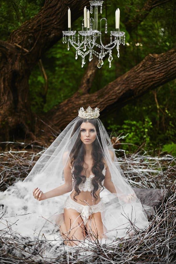 Schönes und sexy Brunettemodellmädchen, in der Wäsche und in der Krone, sitzt in einem enormen Nest im grünen Wald lizenzfreies stockbild