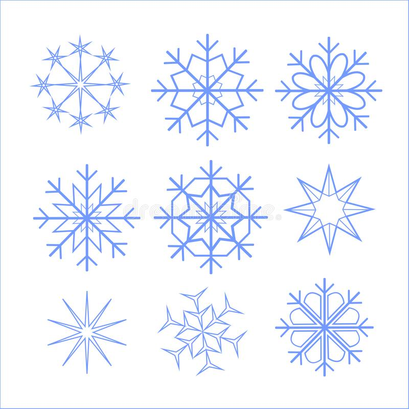Schönes unterschiedliches der Schneeflocken, für Grußkarten für Weihnachten und für das neue Jahr, blaues Blau, interessant, Illu lizenzfreie stockbilder