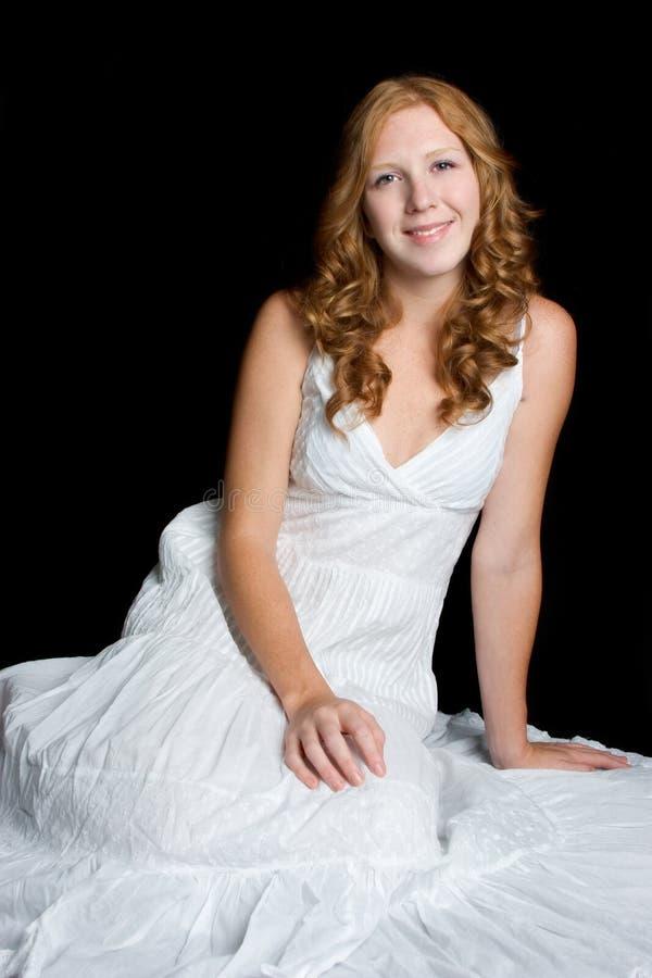 Schönes Weißes Kleid-Mädchen Stockbild - Bild von frau, hintergrund ...