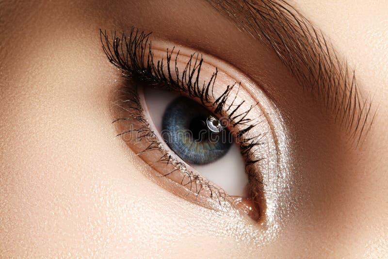 Schönes weibliches Auge mit den extremen langen Wimpern, schwarzes Zwischenlagenmake-up Perfektes Make-up, lange Peitschen Nahauf stockfoto
