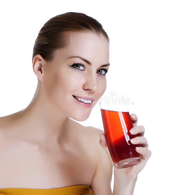 Download Schönes Weibliches Holdingglas Frischer Saft Stockfoto - Bild von gesund, frisch: 26357558