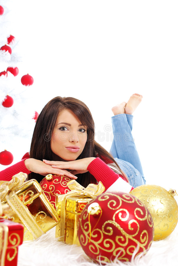Schönes Weihnachtsmädchen stockfoto