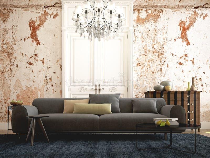 Schönes Weinlesesofa nahe bei grung Wand 3d stock abbildung