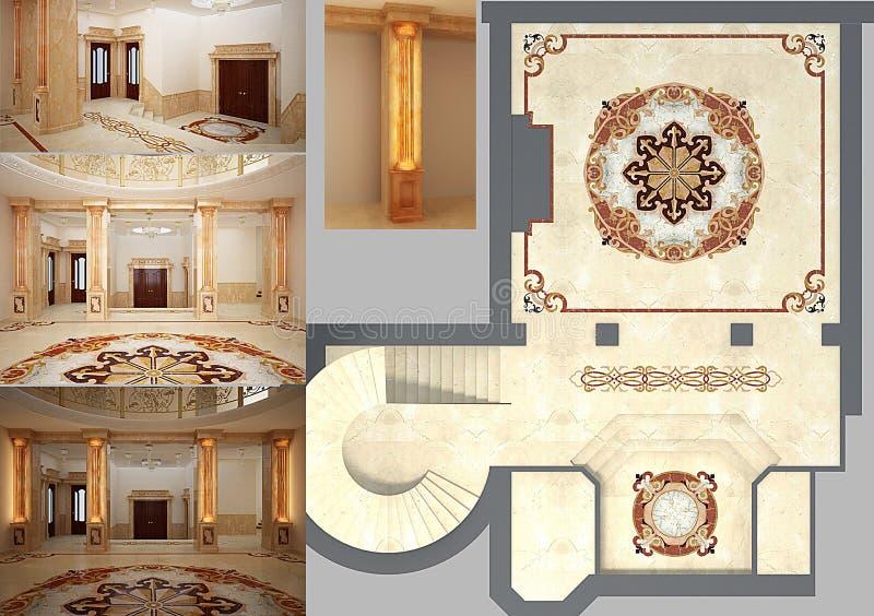 Schönes Wohnzimmer mit Mosaikfußboden stock abbildung