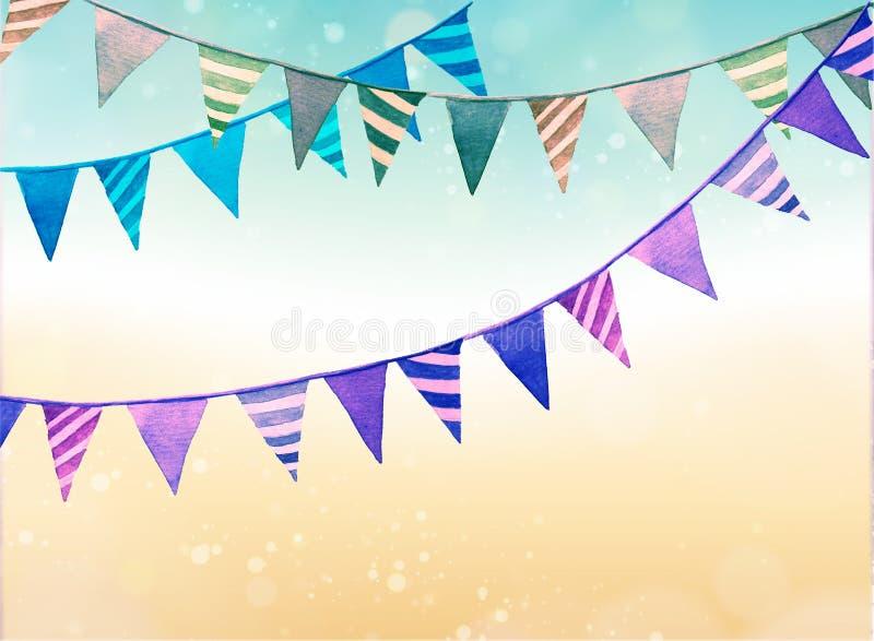 Schönes Zertrümmern der Kuchen, generischer Hintergrund mit Watercolourbeschaffenheit, Parteidekorationen, Girlanden stock abbildung