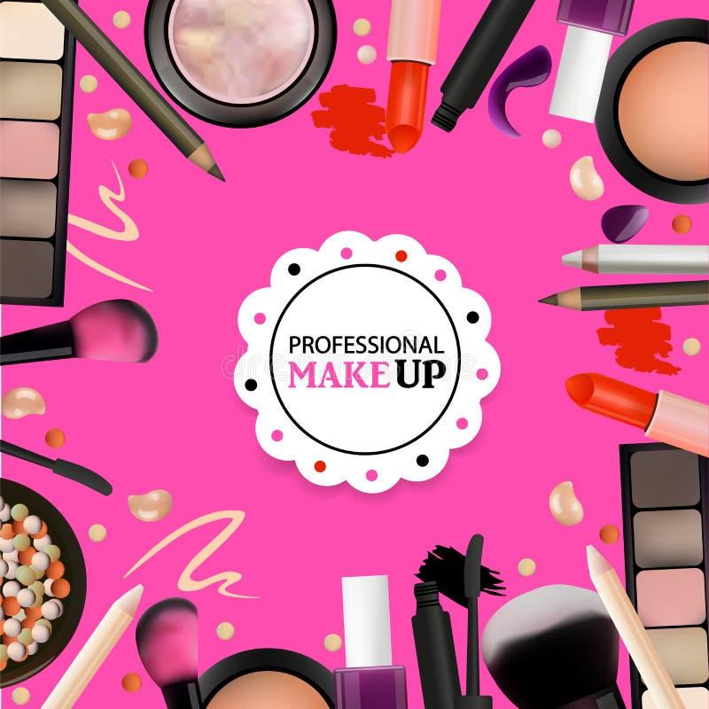 Schönheit bilden Design für Salon, Kurse, Maskenbildner Kosmetische Produkte, Fachmann bilden, interessieren sich Bedruckbare Sch stock abbildung