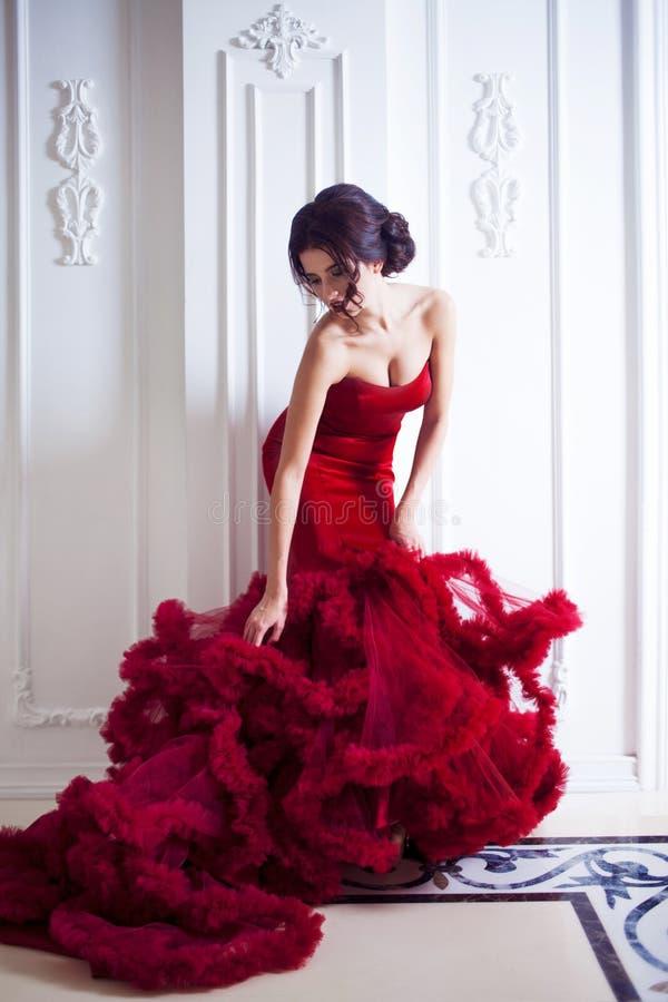 Schönheit Brunette-Modellfrau, wenn rotes Kleid geglättet wird lizenzfreie stockfotos