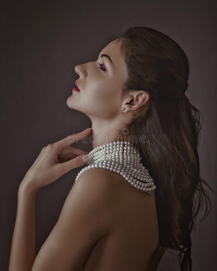 Schönheit Brunette Retro- angeredetes weibliches Porträt stockfotografie