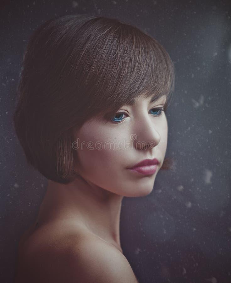 Schönheit Brunette Retro- angeredetes weibliches Porträt lizenzfreies stockbild