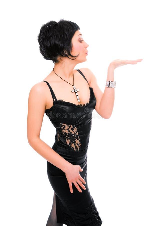 Schönheit Brunettemädcheneinfluß-Handpalme oben stockfotos