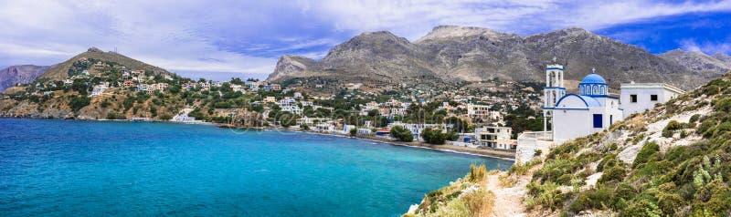 Schönheit der Insel Kalymnos - malerische Kirche am Meer Dodekanese, Griechenland lizenzfreies stockfoto