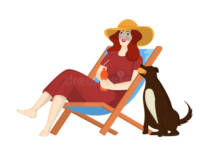 Schönheit, die alkoholfreies Getränk trinkt und auf Strandstuhl sitzt vektor abbildung