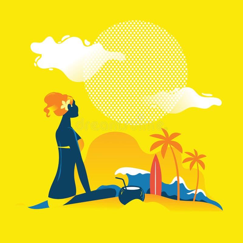 Schönheit, die auf dem Strand sich bräunt Klappstuhl auf Strand in Brighton lizenzfreie abbildung