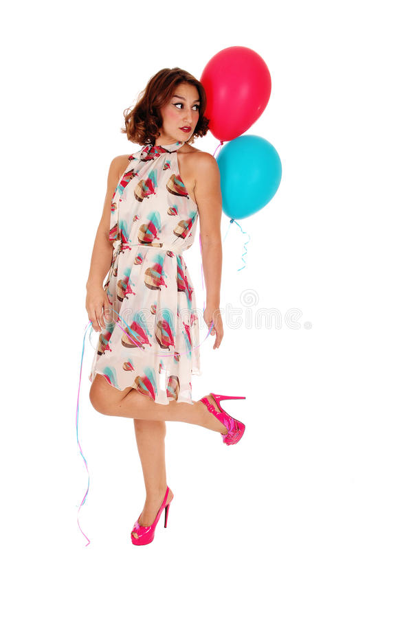 Schönheit, die Ballon hält lizenzfreie stockbilder