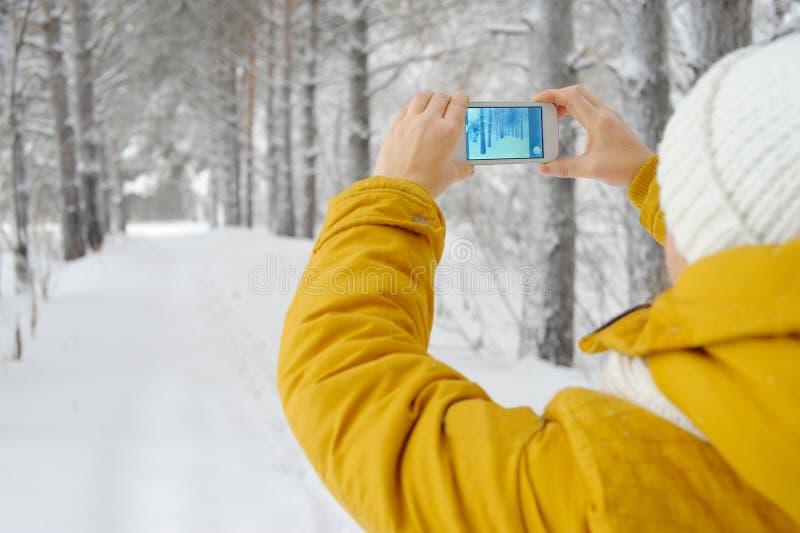 Schönheit, die Smartphone verwendet stockbild