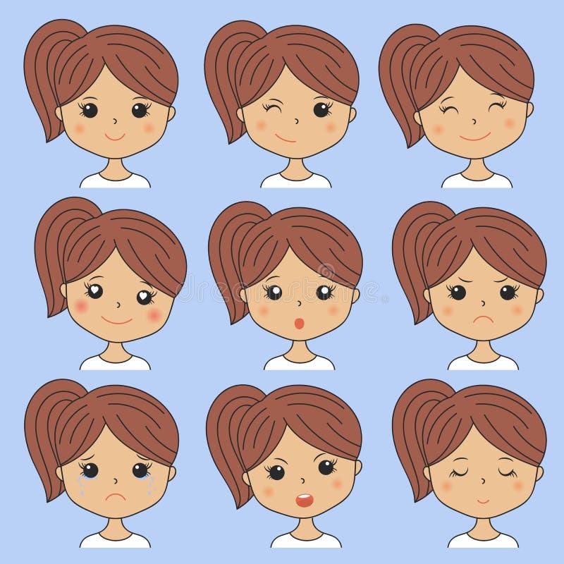 Schönheit, die verschiedene Gesichtsausdrücke zeigt Glücklich, traurig, verärgert, Schrei, Lächeln Karikaturmädchenikonen an eing lizenzfreie abbildung