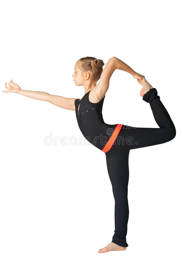 Schönheit, die yoguna Weißhintergrund tut stockbilder