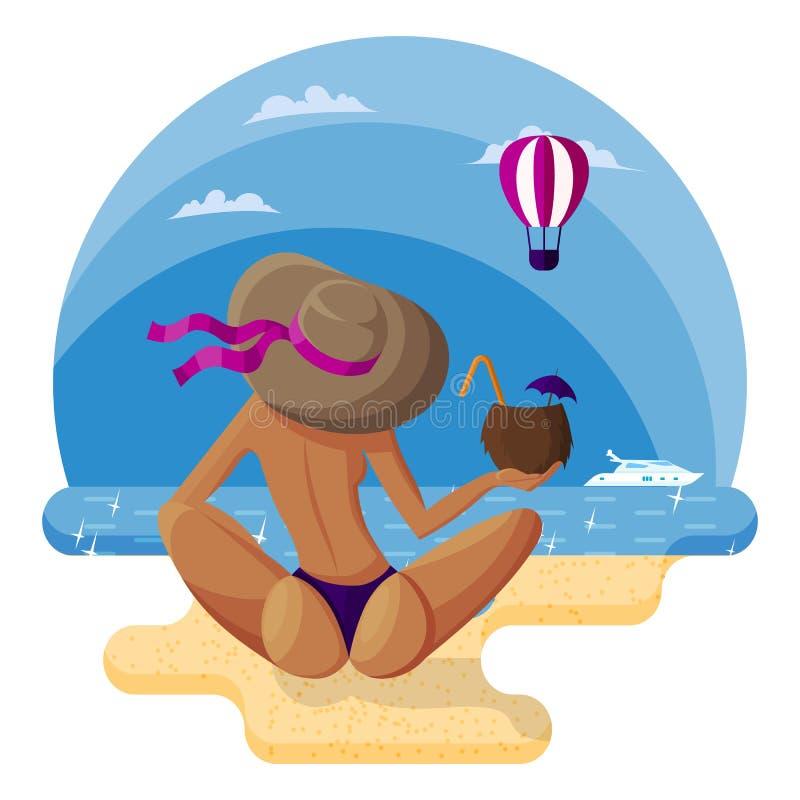 Schönheit in einem Hut sitzt auf dem sandigen Strand mit ihr zurück zu dem Zuschauer mit einem Kokosnusscocktail vektor abbildung