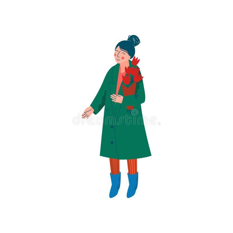 Schönheit gekleidet im grünen Mantel und in der Strickmütze, die mit Blumenstrauß der Frühlings-Blumen-Vektor-Illustration steht stock abbildung