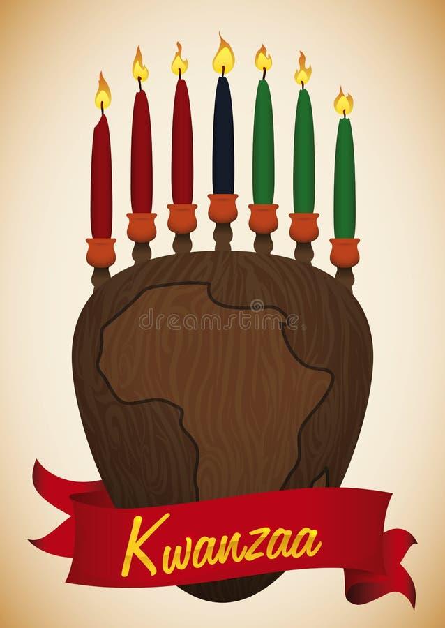 Schönheit Holz geschnitztes Kinara mit Afrika-Karte und traditioneller Kerze, Vektor-Illustration stock abbildung