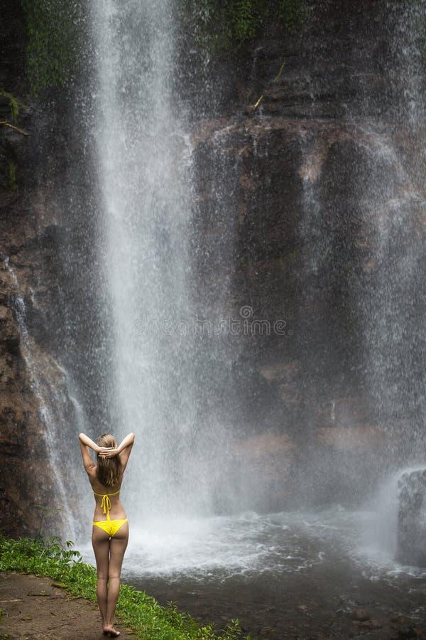 Schönheit im Bikini und im Wasserfall stockfoto