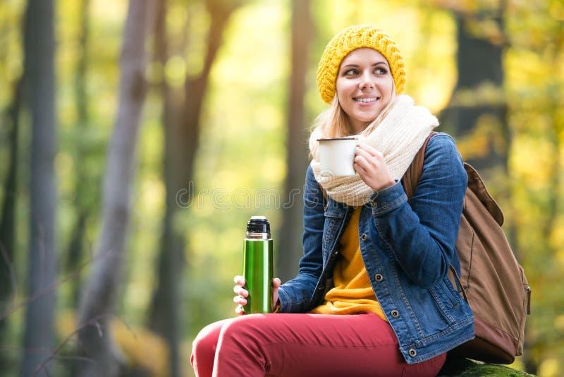 Schönheit im Herbstwald, -Thermosflasche und -schale stockbild