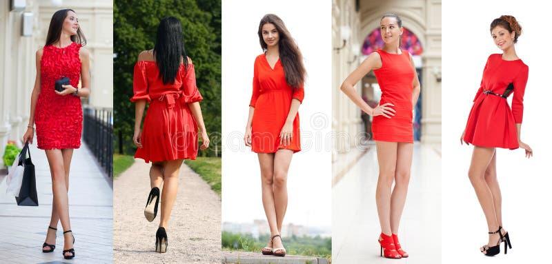 Schönheit im roten Kleid stockbild